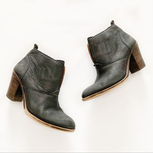 Lucky Brand Ehllen Black Leather Ankle Booties 7.5